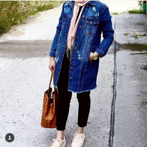 oversized jean jacket hijab-Casual wear collection with hijab – Just Trendy Girls