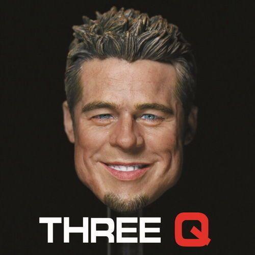 Rare 1/6 Scale Custom ThreeQ Brad Pitt Furry Head Sculpt Fight Club Smile Face #Unbranded
