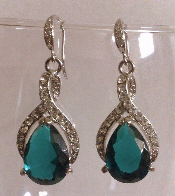 Teal Green Earrings Peacock Wedding Jewelry Teardrop hmmm idea for wedding earrings