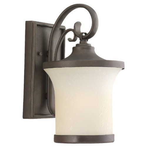 """Sea Gull Lighting 88122 Contemporary / Modern Incandescent Single Light Outdoor Lantern from the Del Pra, Misted Bronze by Sea Gull Lighting. $119.70. Sea Gull Lighting 88122 Contemporary / Modern Incandescent Single Light Outdoor Lantern from the Del Prato Collection with Seeded Acid Etch Glass with Cafe Tint Shade Features: Single Light Outdoor Wall Lantern with Seeded Acid Etch with Cafe Tint Glass with Misted Bronze Band Includes 6 1/2"""" of wire UL Listed for Wet ..."""