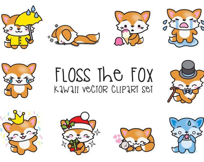 Premium Vector Clipart Kawaii Floss The Fox Cute Fox Clipart High Quality Vectors Instant Download Kawaii Fox Clipart Clip Art Vector Clipart Kawaii