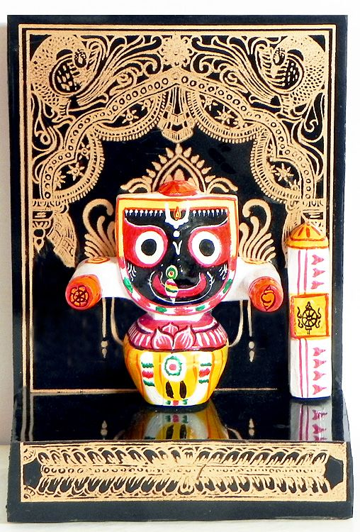 Jagannath Dev on a Hand Painted Black Panel - Wall Hanging (Stone Dust))