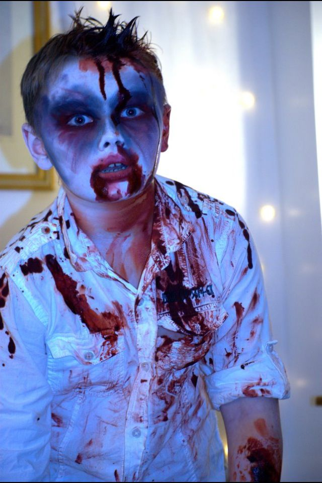 Zombie boy, my favourite face paint/make up of halloween 2011. The boy rocked it.