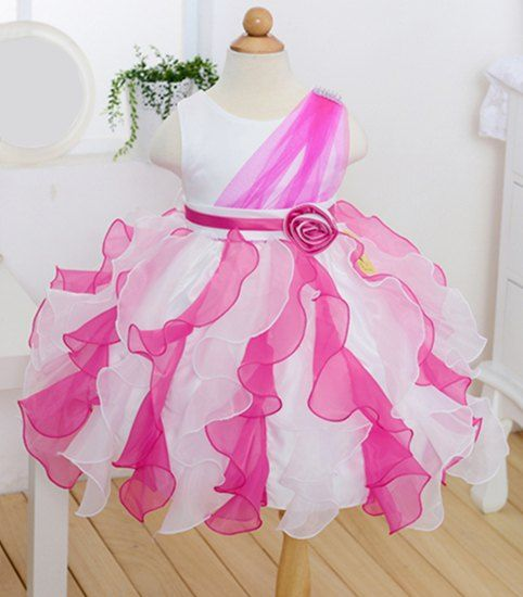 $14.18 Stylish Sleeveless Round Neck Ruffled Color Block Bow Gown Dress For Girls
