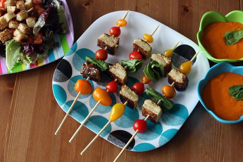 Want a different kebob at your next dinner party...try these Grilled cheese kebobs with heirloom tomatoes and basil...yummo!