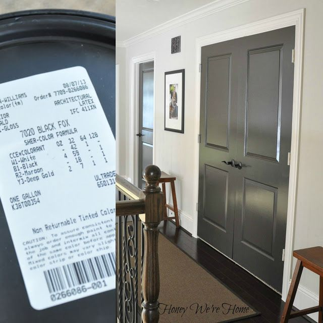 Painted Dark Grey Doors - Sherwin Williams, Black Fox. Dark gray with a little brown in it.