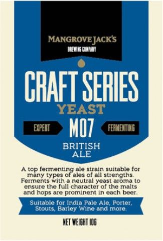 MANGROVE JACK'S BRITISH ALE YEAST: A top fermenting ale strain suitable for many types of ale of all strenghts. Ferment with neutral yeast aroma to ensure the full character of malts are prominient in each beer. Net weight: 10g Suitable For : IPA, Porter, Stout, Barley, Wine and more