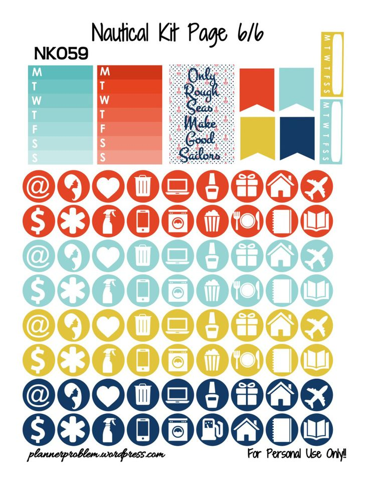 Nautical KIT! – Free Printable Planner Stickers