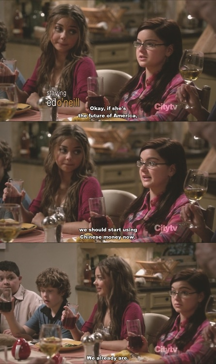 Modern Family season 5-- Haley thinks we are using Chinese money.