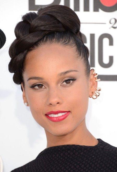 2013 black hair trends | Alicia Keys Formal Large Glossy Braid Updo | Hairstyles Weekly