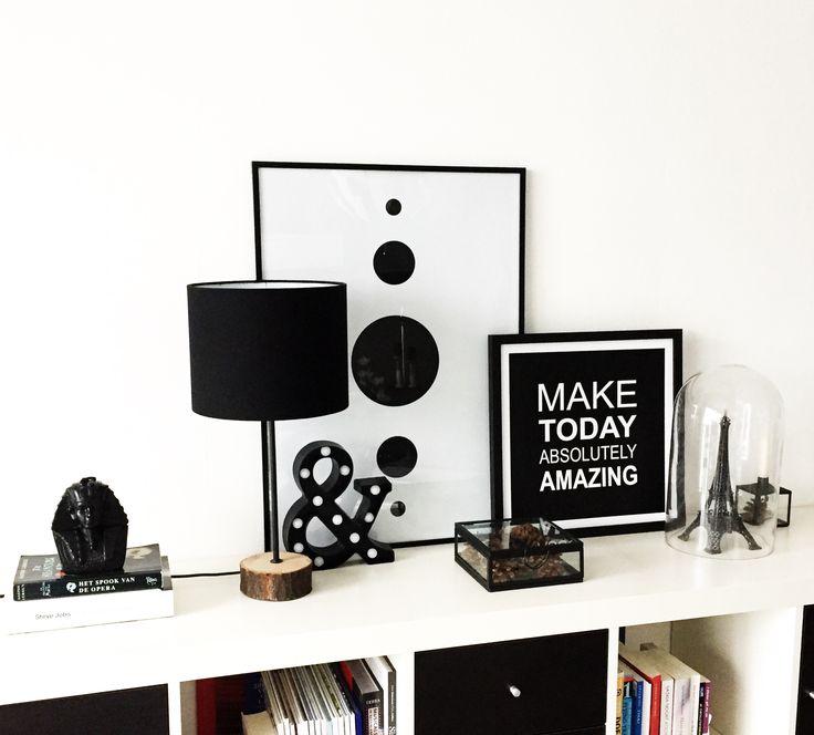 Home Decoration, Black & White, Eiffeltoren, grafisch, homedeco, aankleding in huis, boekenkast, dressoir, wandkast, enjoy