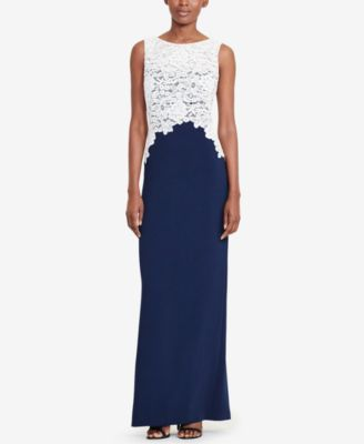 Lauren Ralph Lauren Lace-Bodice Crepe Gown | macys.com