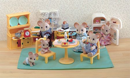 Calico critters kitchen set assessories toys - Calico critters deluxe living room set ...