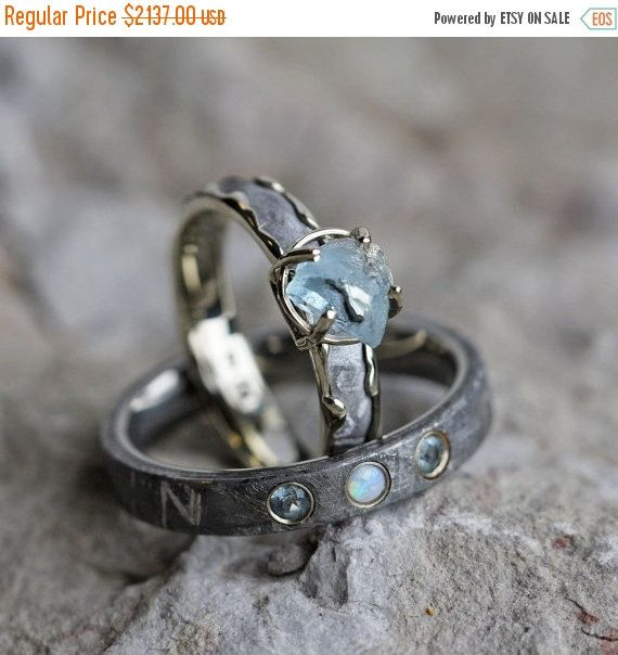 ON SALE - Gemstone Wedding Ring Set, Rough Aquamarine Engagement Ring With Men's Opal Wedding Band, Meteorite Rings Set