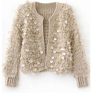 Paillette Embellished Khaki Cardigan