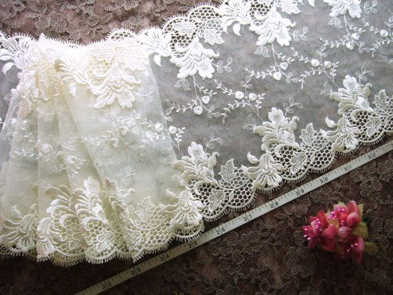 Embroidered lace, lace trim, bridal lace, wedding lace, tulle lace, ivory lace, 3 1/2 yards  WT161