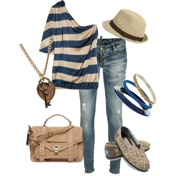 :): Shoes, Hats, Toms, Casual Outfit, Summer Outfit, Style, Shirts, One Shoulder, Stripes