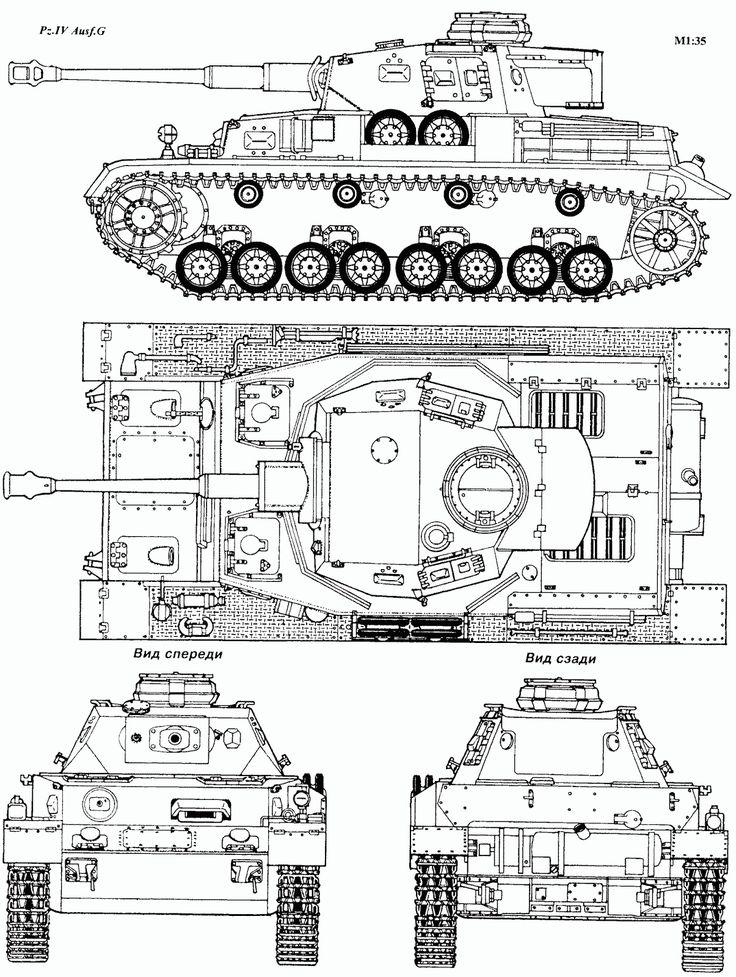 Panzer IV Blueprint - Download free blueprint for 3D modeling