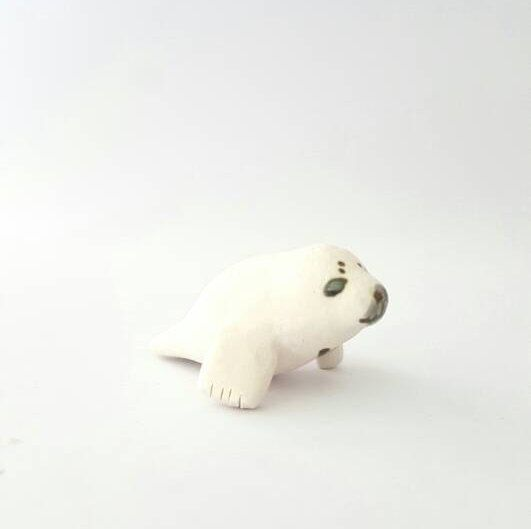 Porcelain Baby Harp Seal Miniature by mudwhimsy on Etsy