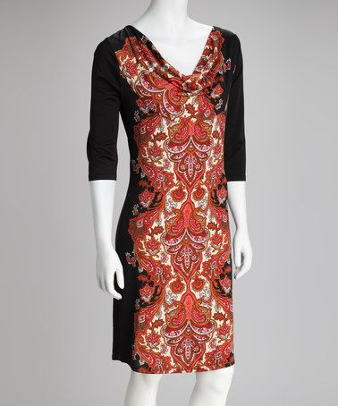 Take a look at this Black & Red Batik Drape Neck Dress by Ice Silk on #zulily today!