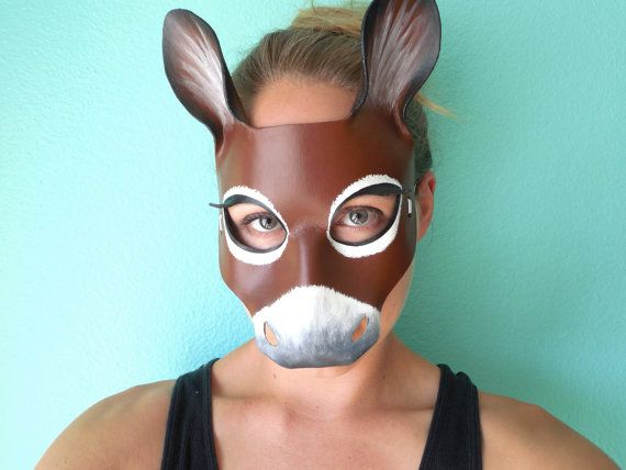 Donkey Leather Mask - A Midsummer Night's Dream - Shrek and Donkey - Horse Mask - Donkey Costume - Donkey Mask - Theater Costume Prop