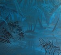 Escaping is easy, Finding home is hard, By Katharina Zahl Fagervik, acrylics on canvas, 150x170cm