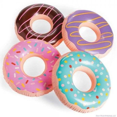 (4) JUMBO FROSTED DONUT Shaped Inflatables - Blow Up Pool Party Favor Toys luau Novelty Items