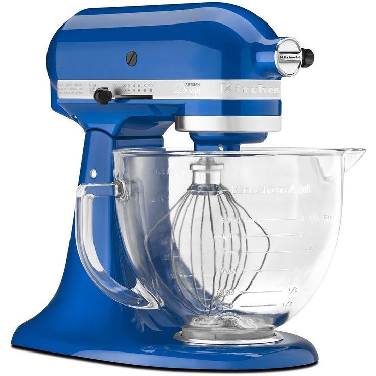 """KitchenAid Artisan Robot de Cozinha – Azul Elétrico com Vidro <3 """"A personalidade de um cozinheiro expressa-se na criação de sensuais experiências culinárias que englobam todos os sentidos, incluído a visão. A KitchenAid considera as suas batedeiras como uma extensão criativa das mãos do cozinheiro, proporcionando um óptimo controlo a nível profissional. Esta Batedeira Artisan™ Chefe Tilt é tudo isso e tem um design icônico."""""""