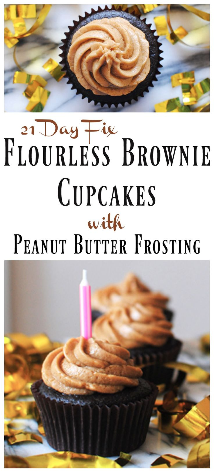 ... Cupcakes - Flourless Brownie Cupcakes with Peanut Butter Frosting