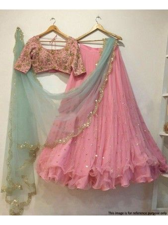 c328116f34 RE - Sumptuous light pink soft net stone work lehenga choli | Women ...