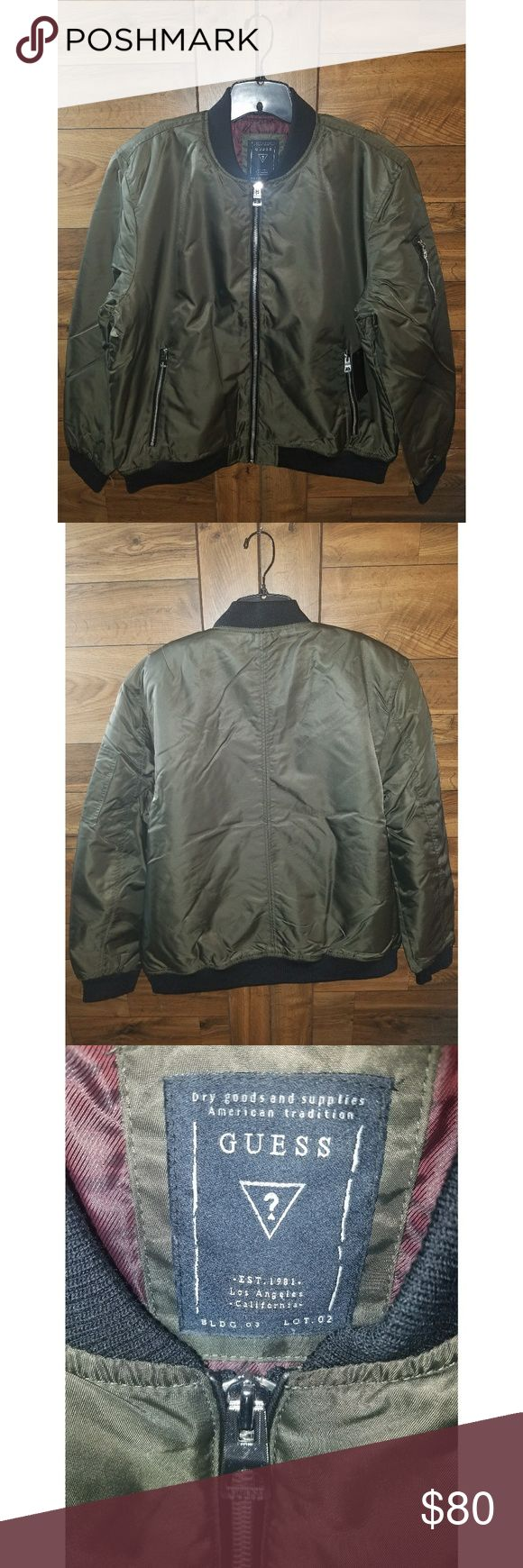 NEW Guess Men's Size XXL Harvey Bomber Jacket Nylon bomber jacket with quilted lining, faux-leather piping and high-shine hardware.  Shell: 100% Nylon. Lining and filling: 100% Polyester.Machine wash  Olive Green color. Currently sold out online.   I BUNDLE! Check out my other listings 😉 Guess Jackets & Coats Bomber & Varsity