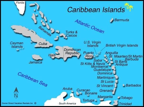 List All Caribbean Islands | Caribbean Islands Map