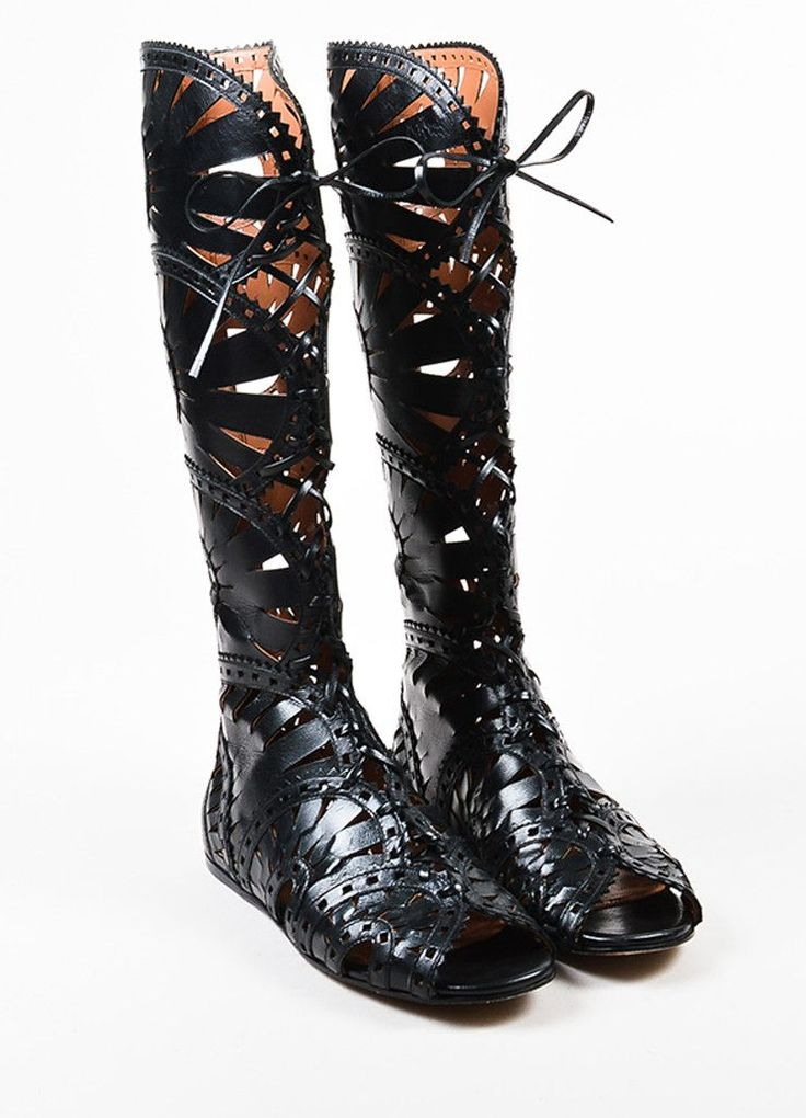 Alaia Black Leather Cutout Open Toe Lace Knee High Gladiator Boots