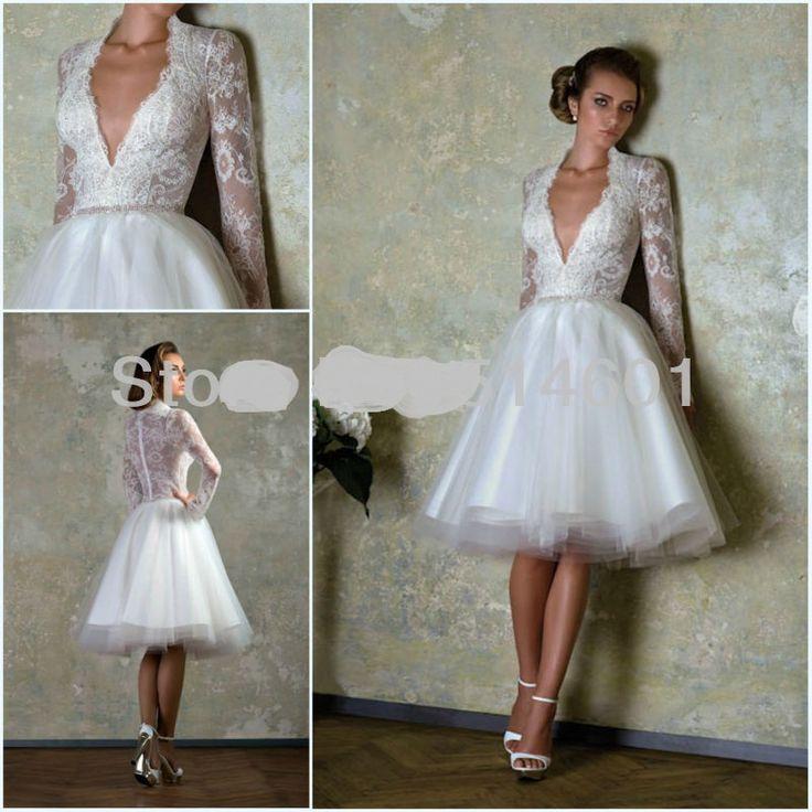 Transparent Corset White Long Sleeve Knee Length Lace Dresses Bride Wedding $159.00