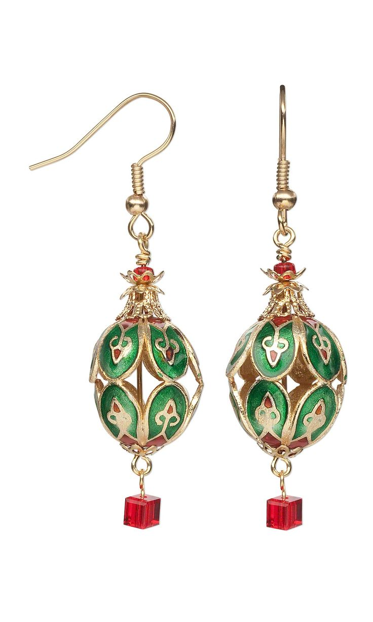 jewelry design earrings with cloisonn beads and gold plated bead caps fire mountain