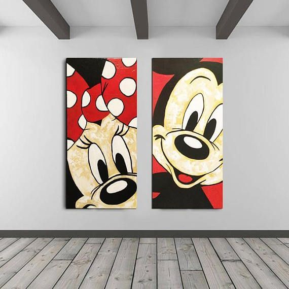MICKEY Mouse Art, MINNIE Mouse Walt Disney Bedroom Decor Kids, Wall Decal Acrylic Painting, Ready to hang, Modern Wall Art, Gifts Paintings