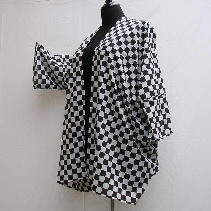 Black and white Kimono, checked kimono, plus size kimono, boho kimono, 1x 2x 3x 4x 5x 6x, plus size dressing gown, plus size robe, cover up by Rethreading on Etsy