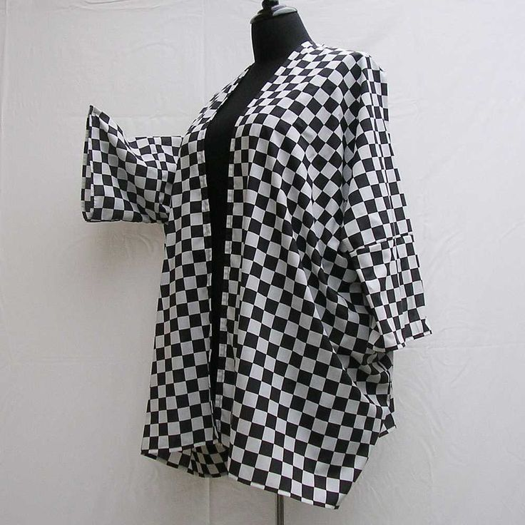 Black and white Kimono, checked plus size kimono, boho kimono, 1x 2x 3x 4x 5x 6x kimono, plus size dressing gown, plus size robe, cover up by Rethreading on Etsy