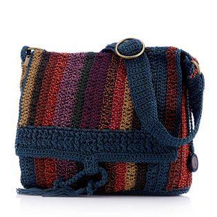 Bolsa de crochê com listras verticais
