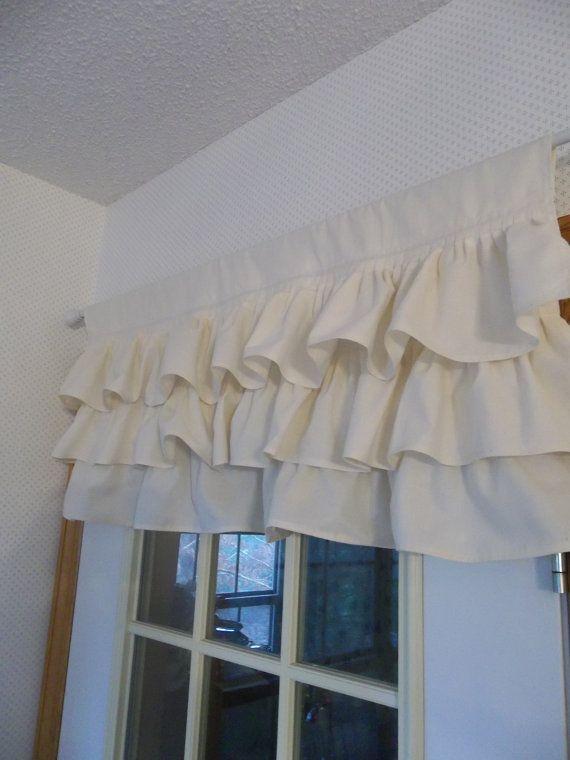 Multi-Rüsche Vorhang Custom Rüschen Volant Baumwolle Topper französischer Landhaus Cottage Stil Fenster Behandlung Französisch Prairie Cottage Chic
