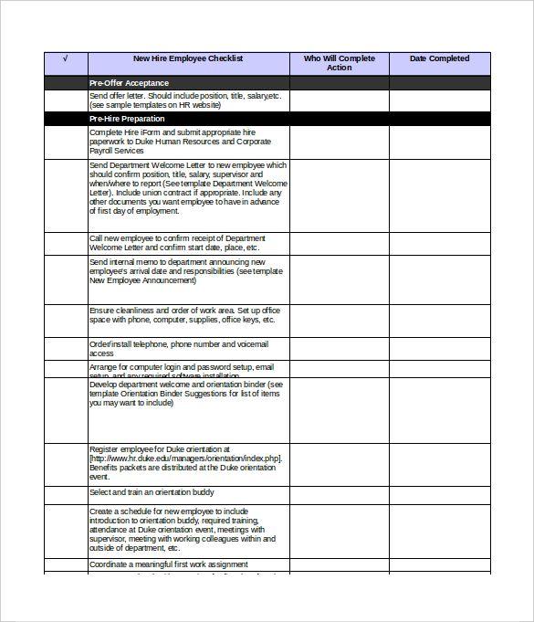 New Hire Checklist Template Checklist Template Checklist Templates