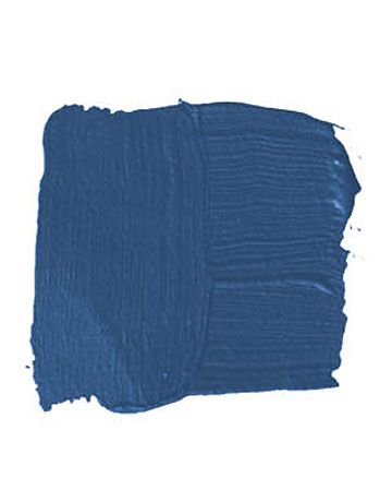 "BENJAMIN MOORE PATRIOT BLUE 2064-20: ""I don't like baby blue or sky blue — I like dark, strong cobalt blue. It reminds me of Europe, in the sense of luxuriousness and the privacy it creates in a room. It shields you. I'd use it in a study or a library, and then snap it up with furniture from the '40s or '50s and a faux-zebra rug."" -Roger de Cabrol"