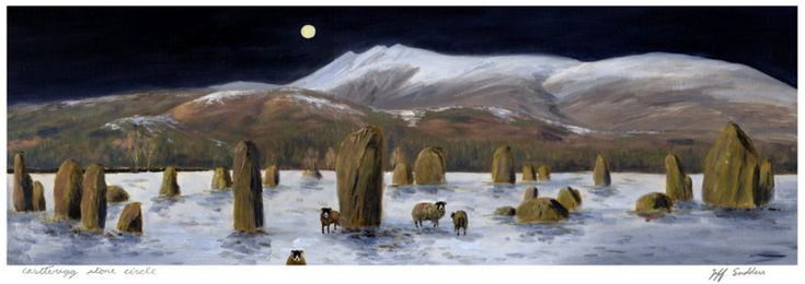 Castlerigg Stone Circle Moonlight   Original Oil Painting By jeff Sudders