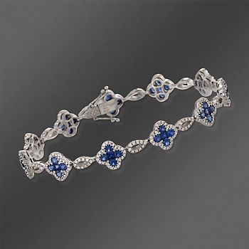Gregg Ruth 3.69 ct. t.w. Sapphire and 1.32 ct. t.w. Diamond Floral Link Bracelet in 18kt White Gold. 7""