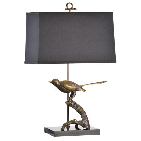 Bird Perched On A Branch Table Lamp.