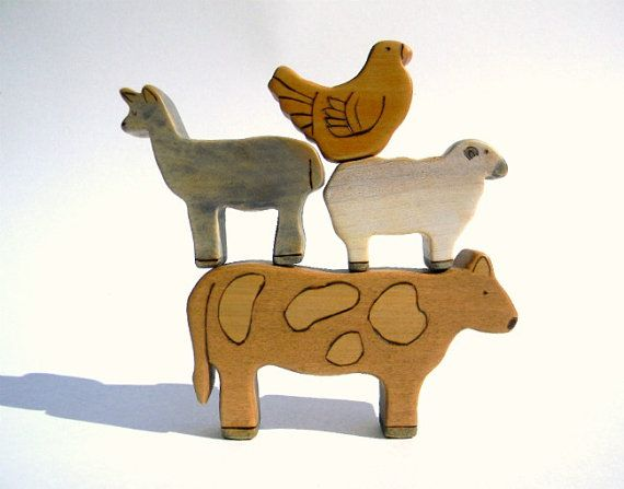 Reagan would love this! wooden farm animal toy set waldorf toy by outsideeverywhere, $33.00