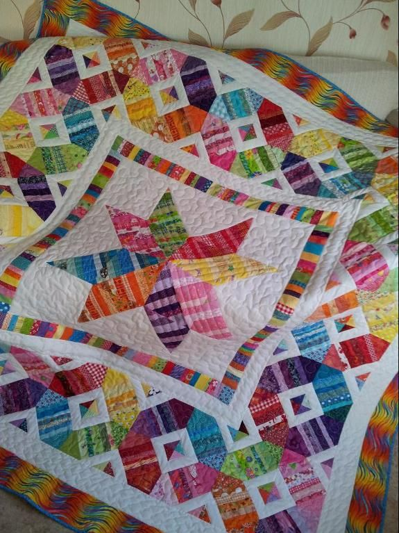 (7) Name: 'Quilting : Scrap Happy Star Quilt
