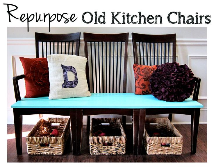 I had these old kitchen chairs on the junk pile when my husband repurposed them for a chair bench that I love!