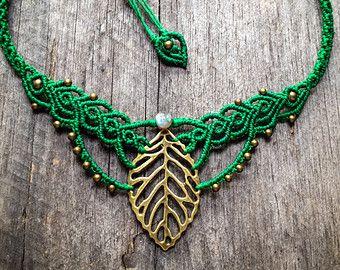 Macrame boho leaf necklace elven jewelry  - custom order antique brass - pixie fairy gypsy boho jewelry bohemian micro macrame