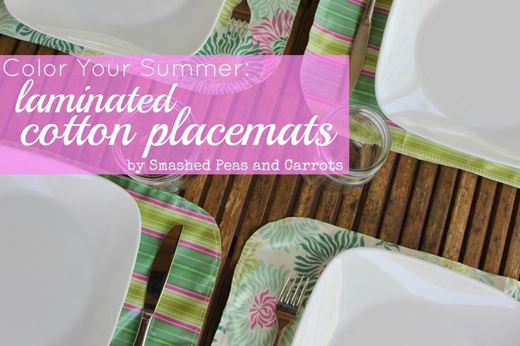 kojodesigns | DIY Placemats: Places Mats, Cotton Placematstutori, Laminate Cotton, Cotton Placemat Tutorials, Sewing Projects, Diy Placemat, Pink Tutorials, Pink Laminate, Smash Peas